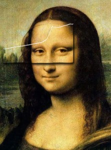 La Gioconda AKA Mona Lisa, da Vinci 1503-1506, Cropped to bust, bevel indicates portion shown on The da Vinci Code book cover
