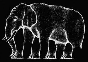 Elephant optical illusion inverted